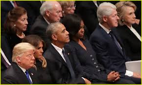Image result for trump obama clinton bush funeral