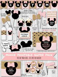 Pink And Black Minnie Mouse Decorations Minnie Party Decor Pack Gold Glitter Blush Pink Minnie Mouse
