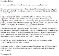 babysitter cover letter example cover letter sample application