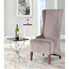 safavieh en vogue dining deco bacall velvet dark mink grey dining chair