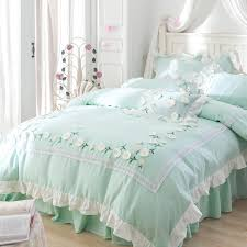 green color 100 cotton korean princess style flower bedding set queen king size girls bed sheet set duvet cover pillowcases modern bedding damask bedding