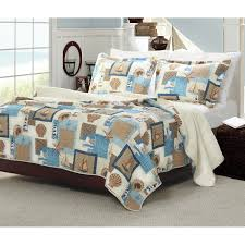nautical brown blue beach themed bedding for s bedroom with white bed sheet and pillowcases