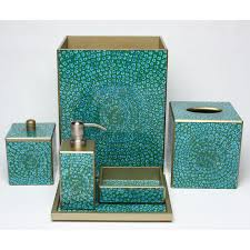 Amazoncom Beach Seashell  Starfish Bathroom Accessories Set Aqua Colored Bathroom Accessories