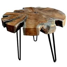 Teak Trunk Accent End Table