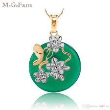 mgfam 170p green malaysian jade pendant necklace green purple red 18k white gold plated with 45cm chain free shippiing
