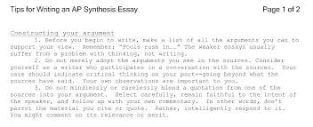 Sample Synthesis Essays Help Writing A Synthesis Essay Homework Helps