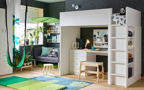ikea childrens furniture bedroom. A Green And White, Amazon Theme Children\u0027s Bedroom With STUVA/FRITIDS Loft Bed Combo Ikea Childrens Furniture E