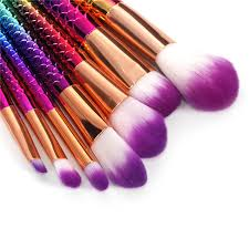 7pc mermaid makeup brushes set with big fish l brush rainbow diamond handle foundation blending powder contour cosmetic brush in makeup brushes tools