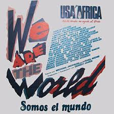 "Image result for 45 of the biggest names in pop music gather to record the song ""We Are the World,"" in an effort to raise money for African famine relief."