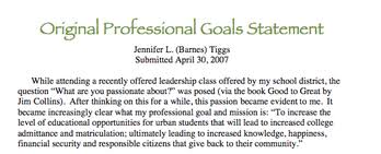 What Are Professional Goals Goal Statement Reflection Professional Portfolio Of Jennifer Tiggs