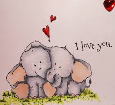 i love you cute card using the sting bella elephant st and sentiment
