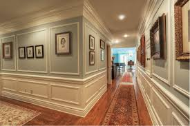 bathroom chair molding. traditional hallway with chair rail, hardwood floors, wainscoting, crown molding, cm- bathroom molding