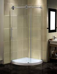 aston completely frameless round sliding shower door enclosure with low profile base