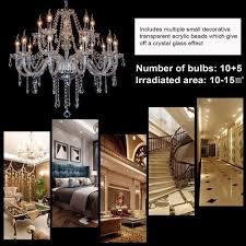new crystal chandelier modern ceiling light 15 lamp pendant lighting fixture bt