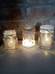 Decorating Jam Jars For Candles Jam Jar Tea Light Holder Decorated With Lace And Wire Hanger By 98