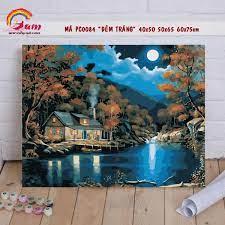 Nơi bán Tranh tô màu sơn dầu số hóa kỹ thuật số DIY Có khung phong cảnh đêm  trăng - Mã PC0084 Tranh Trang trí Sang trọng Làm quà tặng Giảm Stress