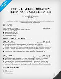 Gallery of entry level information technology resume sample .