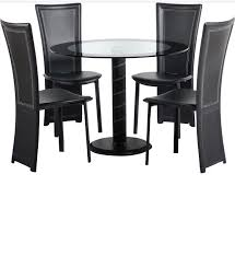 cameo 100cm glass round dining table and 4 chairs set brand new still in box