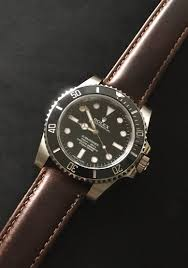 rolex ceramic submariner no date on leather