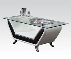 White leather coffee tables Tray Sofas Los Angeles Rozene Modern Glass Top Coffee Table Black White Bonded Leather