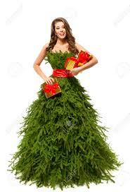 Woman Christmas Tree Dress Fashion Model Girl And Xmas Present Girls Christmas Tree Dress