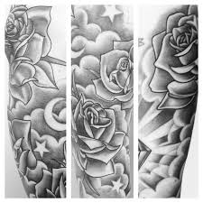 tattoo sleeve designs clouds. Fine Clouds Grey Ink Clouds With Roses And Stars Tattoo Design For Sleeve Designs A