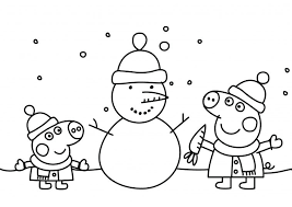 600x804 peppa pig coloring pages winter. Peppa Pig Christmas Snowman Printable Colouring Page Drakl