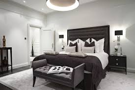 black lamp shades bedroom transitional with bespoke black and grey