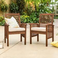 dark brown patio chairs with cushions