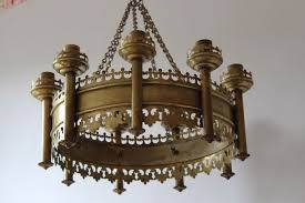 19th century neo gothic church chandelier candle holder
