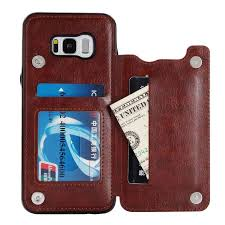 product details of vintage premium pu leather wallet cover card holder kickstand card slots case with double magnetic clasp case cover for samsung galaxy s8