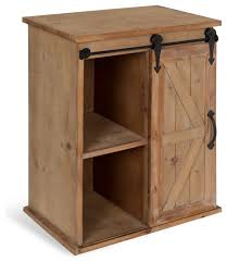 cates wood end table with sliding barn