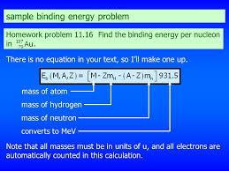 sample binding energy problem