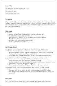 1 Hvac Installer Resume Templates Try Them Now Myperfectresume