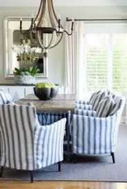 sam allen interiors blue and white ticking stripes dining room have always liked the colours of ticking this would be great to cover my chairs sofa