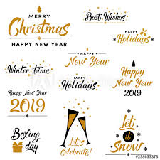 Lettering Templates Merry Christmas And Happy New Year Typography Set Holiday