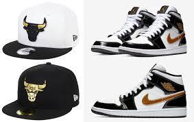 air jordan 1 mid se black gold patent leather x chicago bulls new era metallic gold hats