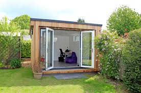 office in the garden. Flat Roof Garden Office Built By Lodges In The