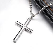 blue sweet necklaces cylinder cross pendant for men or women sterling silver cross