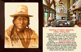 original art painting of native american indian chief sitting bull wearing native clothing and wearing an