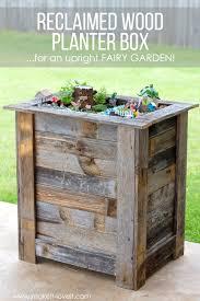 diy reclaimed wood planter box for an upright fairy garden