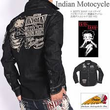 from indian motocycle インディアンモトサイクル it is an introduction of betty boop betty boop collaboration long sleeves shirt bikie betty embroidery