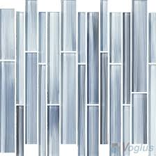 blue gray linear hand painted glass mosaic tiles vg hpl91