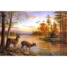 rivers deer scenery thomas oil paintings jpg