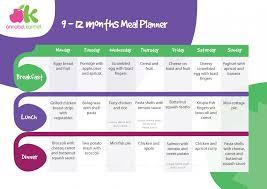 Babies Menu Planner Meal Planner For 9 12 Months Babies Ella Lynn Baby Food Recipes