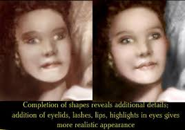 I drew the left eye while looking at the right one. Mary Kelly Stages 2. The biggest interpolation of my own here was the lips; it's impossible to tell how ... - 19240