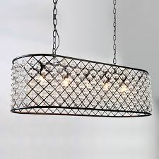6 light metal black rectangle chandelier ball shade glass