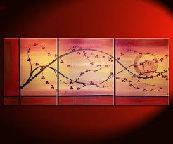 cherry blossom painting branch and moon on gold and red canvas acrylic triptych painting japanese chinese