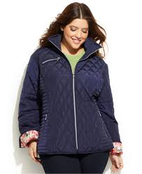 Lyst - Jessica simpson Plus Size Floral-Trim Quilted Jacket in Blue & Gallery Adamdwight.com