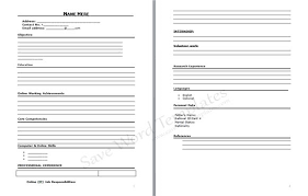 blank resume template pdf venja co Resume And Cover Letter